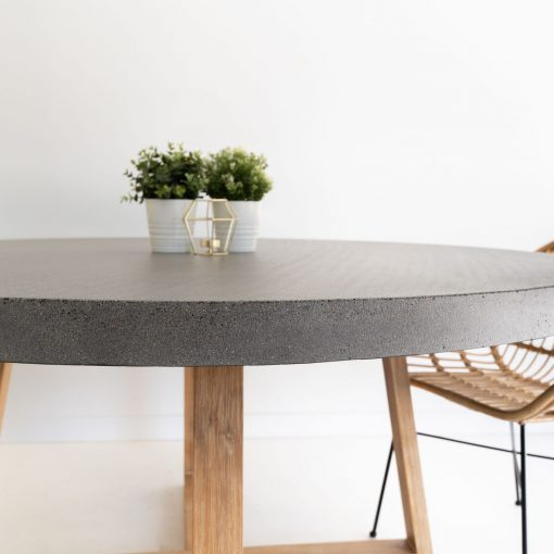 1.6m Alta Round Dining Table - Speckled Grey with Light Honey Legs