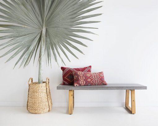 1.65m Sierra Rectangular Bench - Speckled Grey with Light Honey Legs