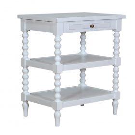 Stradbroke Bobbin Bedside Table - White Image