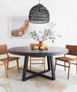 1.6m Alta Round Dining Table - Ebony Black with Black Powder Coated Legs