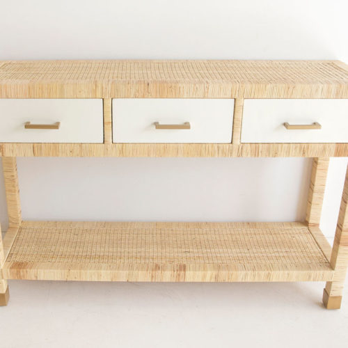 Palms three drawer console table
