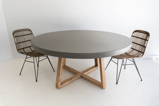 1.6m Alta Round Dining Table - Pebble Grey with Light Honey Legs