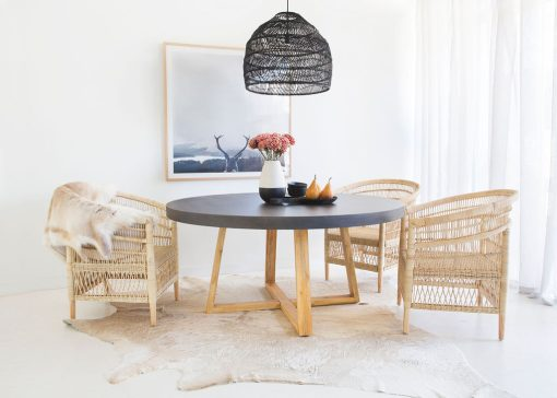 1.6m Alta Round Dining Table - Ebony Black with Light Honey Legs