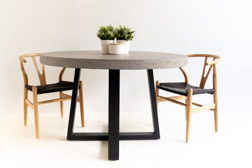 1.2m Alta Round Dining Table - Speckled Grey with Black Powder Coated Legs