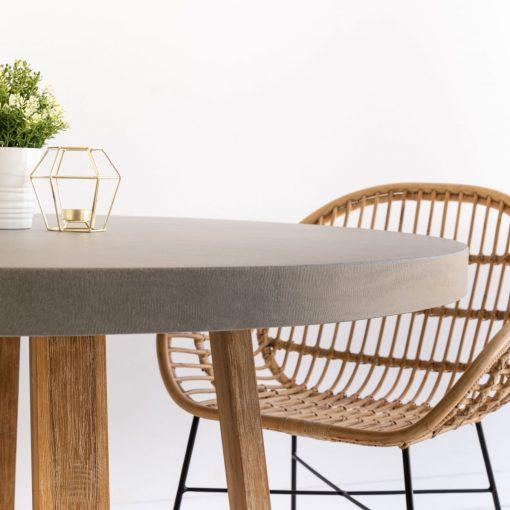 1.0m Alta RoundDining Table - Pebble Grey with Light Honey Legs