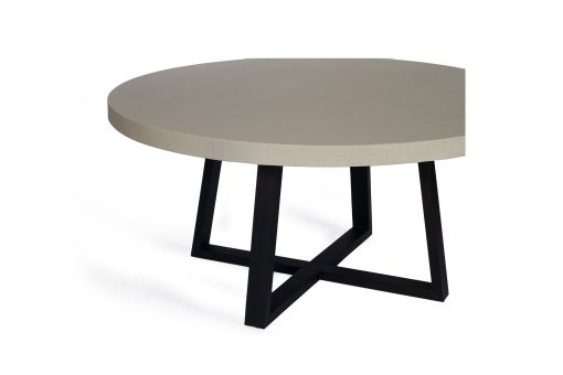 1.6m Alta Elkstone Round Dining Table - Beige with Black Powder Coated Legs