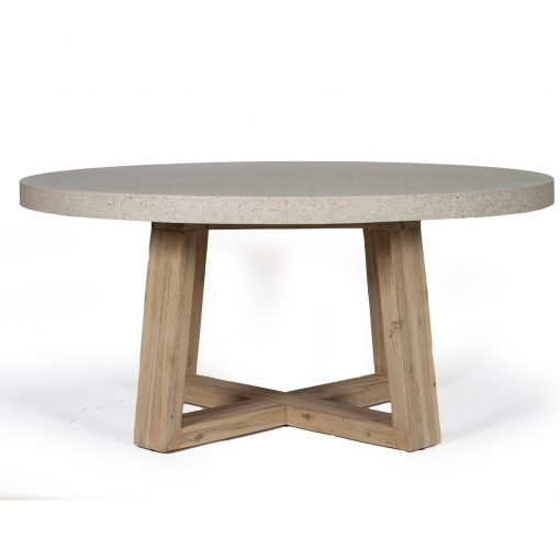1.6m eTerrazzo Elkstone Round Dining Table - Ivory Coast with Ivory Washed Legs