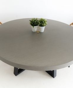 1.6m Alta Round Dining Table - Pebble Grey with Black Powder Coated Legs