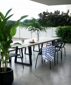 3.0m Sierra Elkstone Rectangular Dining Table - Beige with Black Powder Coated Legs