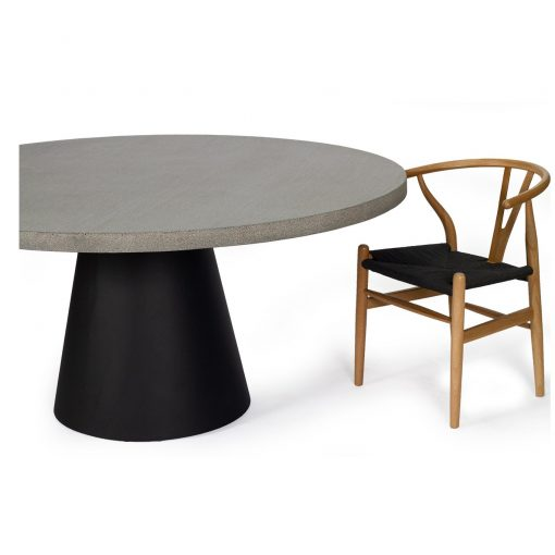 1.2m Avalon Elkstone Round Dining Table - Speckled Grey with Black Powder Coated Cone Base