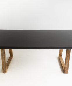 2.4m Sierra Elkstone Rectangular Dining Table - Ebony Black with Light Honey Legs