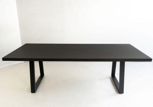2.0m Sierra Rectangular Dining Table - Ebony Black with Black Powder Coated Legs