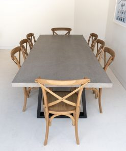 2.4m Sierra Elkstone Rectangular Dining Table - Speckled Grey with Black Powder Coated Legs