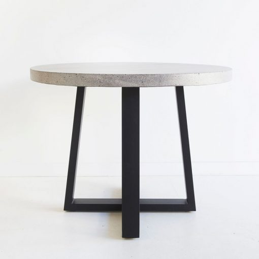 1.0m Alta Round Dining Table - Speckled Grey with Black Powder Coated Legs