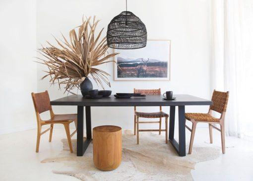 1.8m Sierra Rectangular Dining Table - Ebony Black with Black Powder Coated Legs