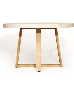 1.2m eTerrazzo Elkstone Round Dining Table - Ivory Coast with Ivory Washed Legs