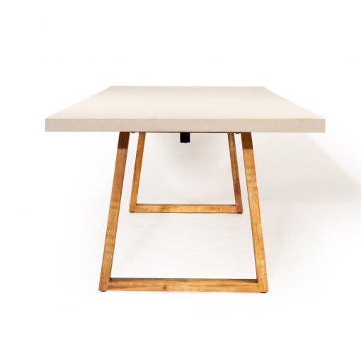 3.0m Sierra Elkstone Rectangular Dining Table - Beige with Light Honey Legs